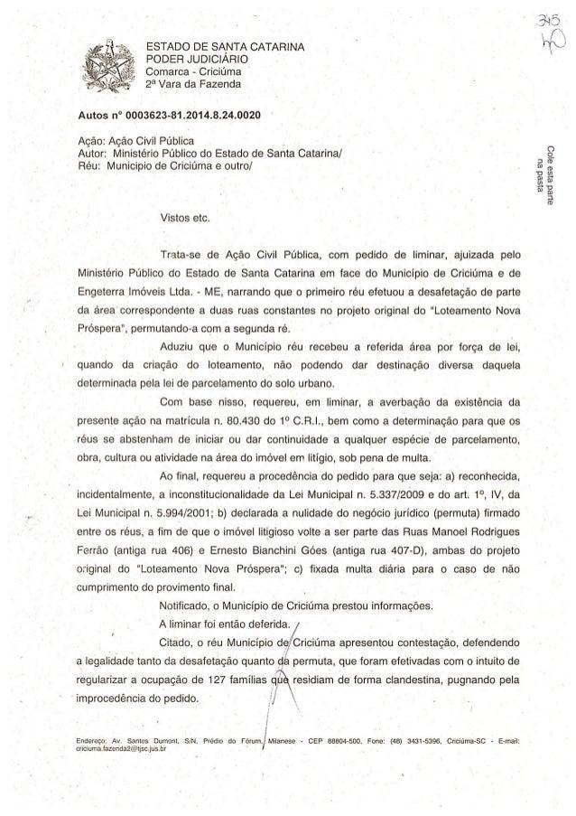 ESTADO DE SA, NTA CATARINA PODER JUDIClARlO  Comarca - Criciúma  2a Vara da Fazenda     Autos n° 0003623-81 .2014.8.24.002...