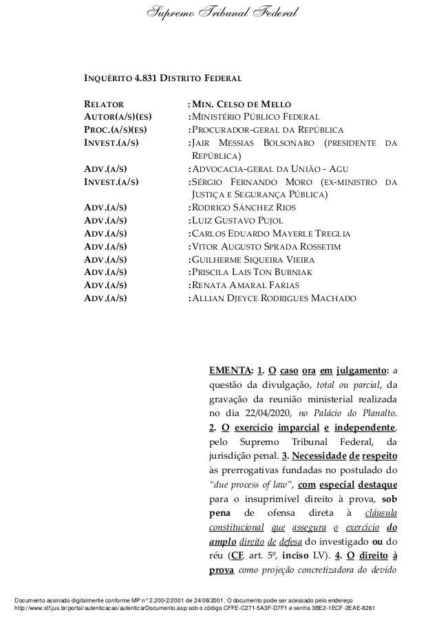INQUÉRITO 4.831 DISTRITO FEDERAL RELATOR : MIN. CELSO DE MELLO AUTOR(A/S)(ES) :MINISTÉRIO PÚBLICO FEDERAL PROC.(A/S)(ES) :...