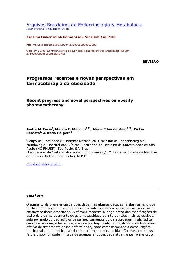 Arquivos Brasileiros de Endocrinologia & MetabologiaPrint version ISSN 0004-2730Arq Bras Endocrinol Metab vol.54 no.6 São ...