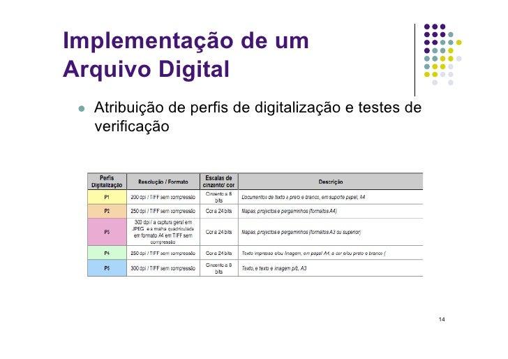 Implementação de um Arquivo Digital     Atribuição de perfis de digitalização e testes de       verificação             ...