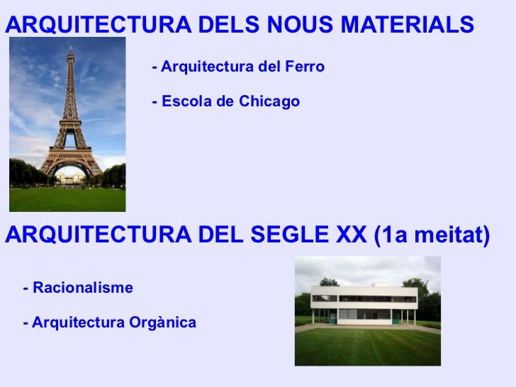 ARQUITECTURA DELS NOUS MATERIALS ARQUITECTURA DEL SEGLE XX (1a meitat) - Arquitectura del Ferro - Escola de Chicago - Raci...