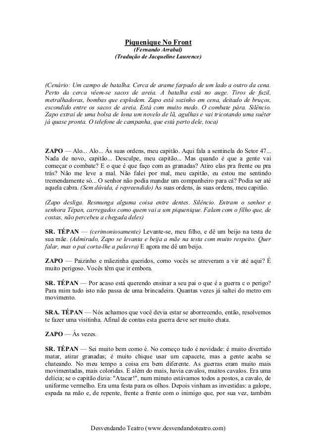 Desvendando Teatro (www.desvendandoteatro.com) Piquenique No Front (Fernando Arrabal) (Tradução de Jacqueline Laurence) (C...