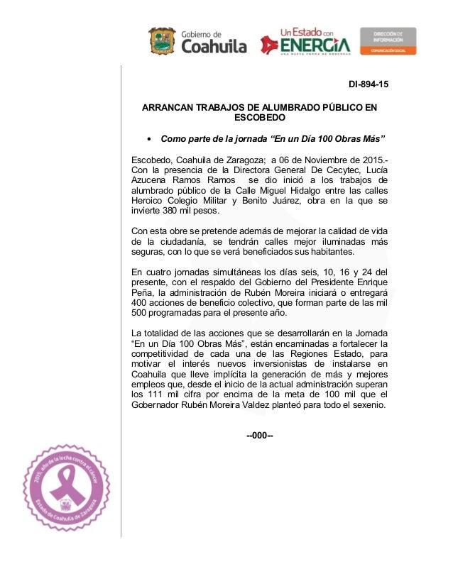"""DI-894-15 ARRANCAN TRABAJOS DE ALUMBRADO PÚBLICO EN ESCOBEDO • Como parte de la jornada """"En un Día 100 Obras Más"""" Escobedo..."""
