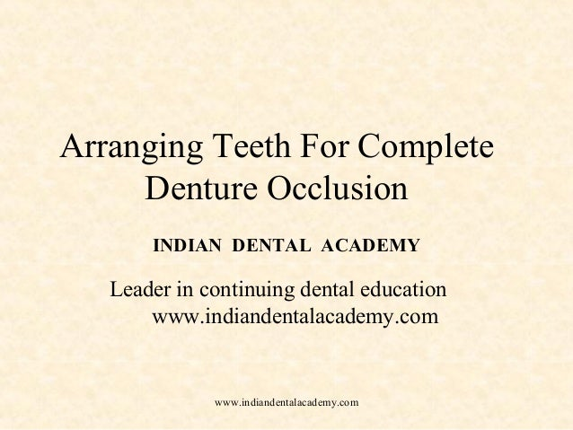 Arranging Teeth For Complete Denture Occlusion INDIAN DENTAL ACADEMY Leader in continuing dental education www.indiandenta...