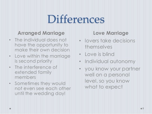 about love marriage and arranged marriage