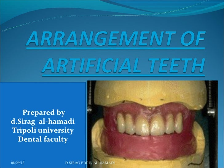 Prepared byd.Sirag al-hamadiTripoli university  Dental faculty08/29/12       D.SIRAG EDDIN AL-HAMADI   1