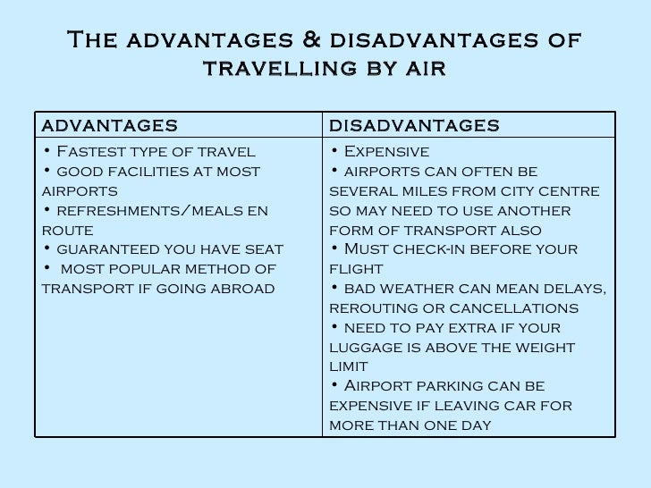 essay about advantages and disadvantages of travelling by plane Do the advantages outweigh the disadvantages some people think that travelling by plane is very comfortable and convenient others say that it has a number of disadvantages.