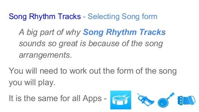 "Arranging rhythm tracks using ""Song Rhythm Tracks"" Slide 2"