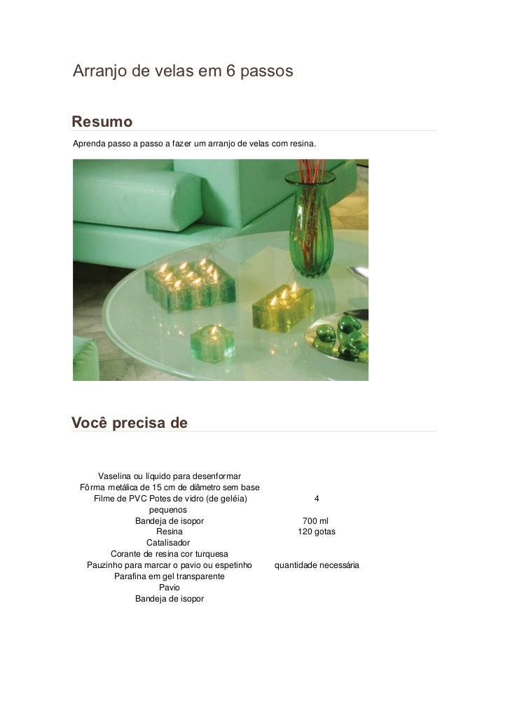 Arranjo de velas em 6 passosResumoAprenda passo a passo a fazer um arranjo de velas com resina.Você precisa de     Vaselin...