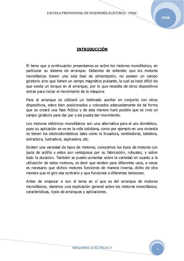 ESCUELA PROFESIONAL DE INGENIERÍA ELÉCTRICA - UNAC MÁQUINAS ELÉCTRICAS II 2010B 1 INTRODUCCIÓN El tema que a continuación ...