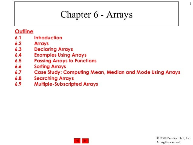 © 2000 Prentice Hall, Inc.All rights reserved.1Chapter 6 - ArraysOutline6.1 Introduction6.2 Arrays6.3 Declaring Arrays6.4 ...