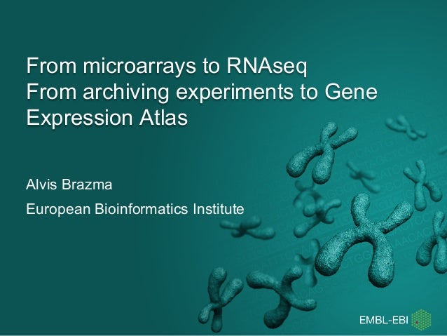 From microarrays to RNAseq From archiving experiments to Gene Expression Atlas Alvis Brazma European Bioinformatics Instit...