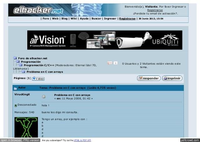 Bienvenido(a), Visitante. Por favor Ingresar o Registrarse ¿Perdiste tu email de activación?. | Foro | Web | Blog | Wiki |...