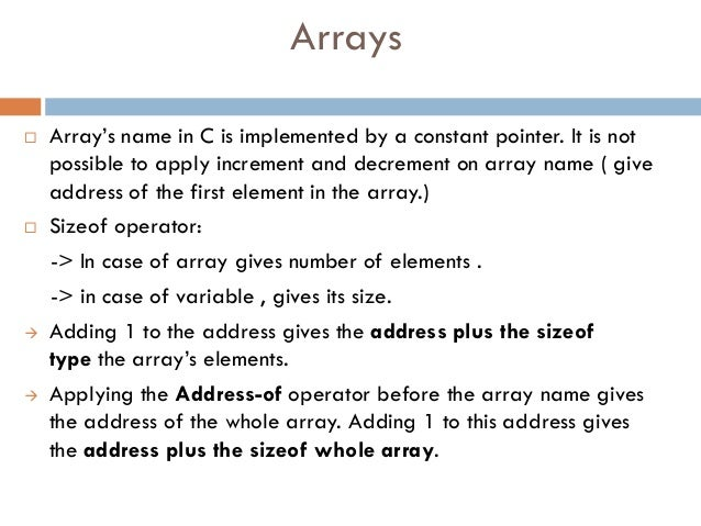 Important concepts and facts in C about Arrays and Pointers