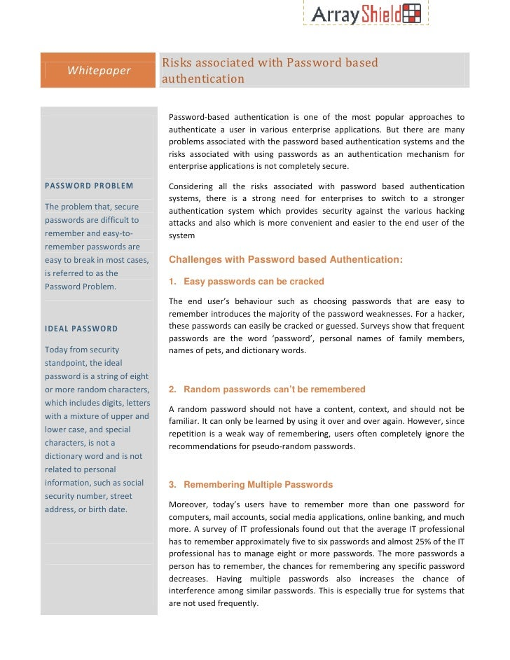 Risks associated with Password based      Whitepaper                                 authentication                       ...