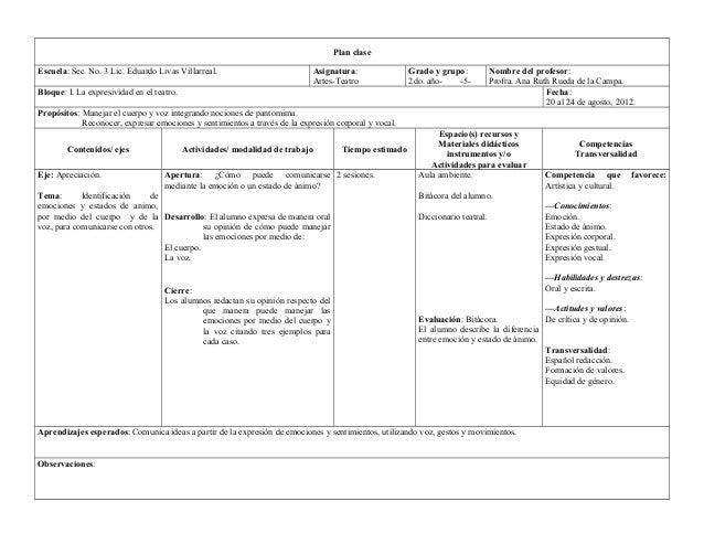 Plan clase  Escuela: Sec. No. 3 Lic. Eduardo Livas Villarreal. Asignatura:  Artes-Teatro  Grado y grupo:  2do. año- -5-  N...