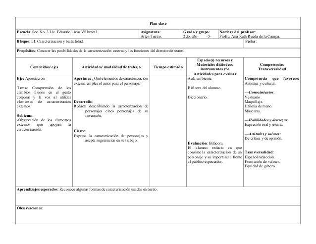 Plan clase  Escuela: Sec. No. 3 Lic. Eduardo Livas Villarreal. Asignatura:  Artes-Teatro.  Grado y grupo:  2do. año- -5-  ...