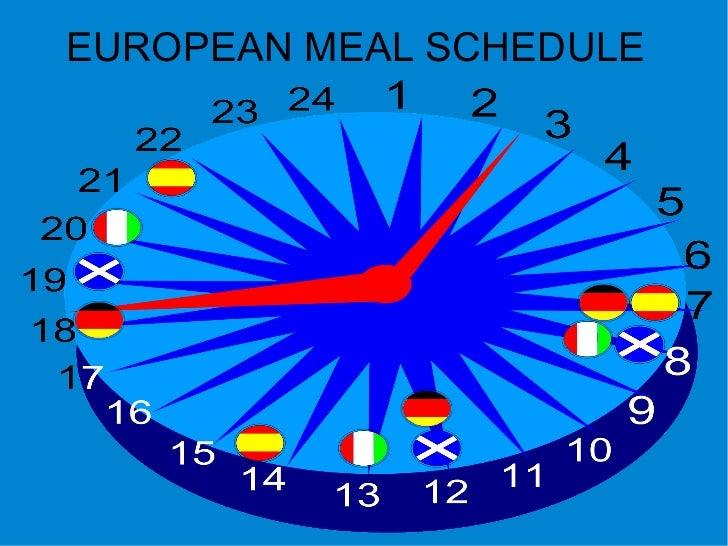 EUROPEAN MEAL SCHEDULE