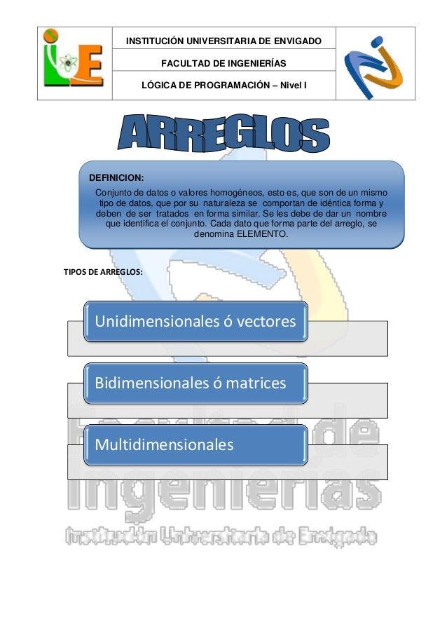 INSTITUCIÓN UNIVERSITARIA DE ENVIGADOFACULTAD DE INGENIERÍASLÓGICA DE PROGRAMACIÓN – Nivel ITIPOS DE ARREGLOS:Unidimension...