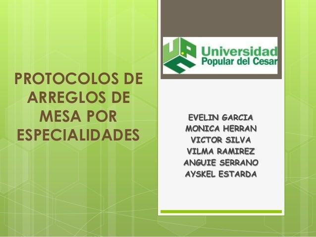 PROTOCOLOS DE ARREGLOS DE MESA POR ESPECIALIDADES  EVELIN GARCIA MONICA HERRAN VICTOR SILVA VILMA RAMIREZ ANGUIE SERRANO A...