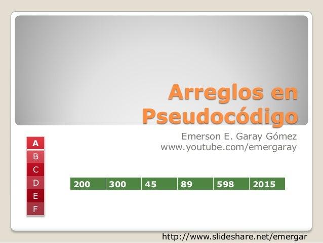 Arreglos en Pseudocódigo Emerson E. Garay Gómez www.youtube.com/emergaray http://www.slideshare.net/emergar 200 300 45 89 ...