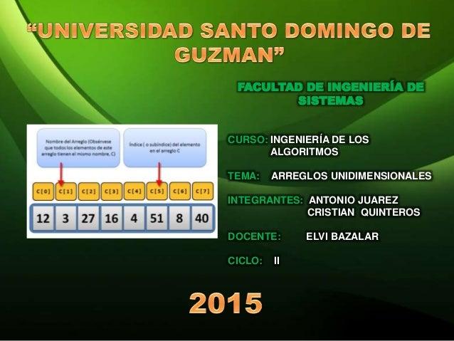 FACULTAD DE INGENIERÍA DE SISTEMAS CURSO: INGENIERÍA DE LOS ALGORITMOS TEMA: ARREGLOS UNIDIMENSIONALES INTEGRANTES: ANTONI...
