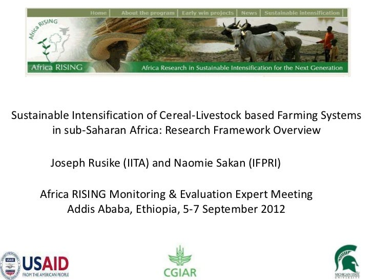 Sustainable Intensification of Cereal-Livestock based Farming Systems        in sub-Saharan Africa: Research Framework Ove...