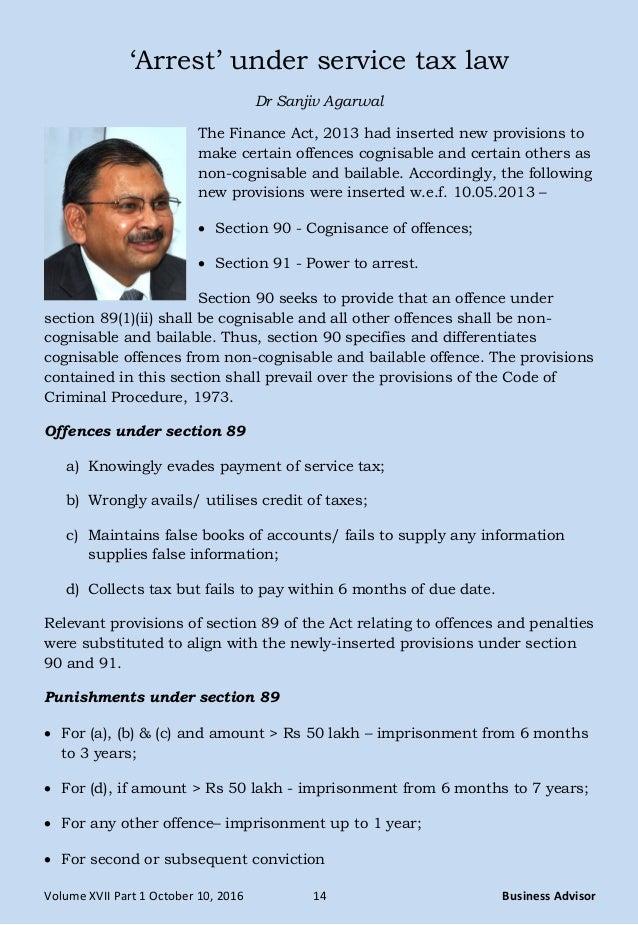 Arrest' under service tax law - Dr Sanjiv Agarwal