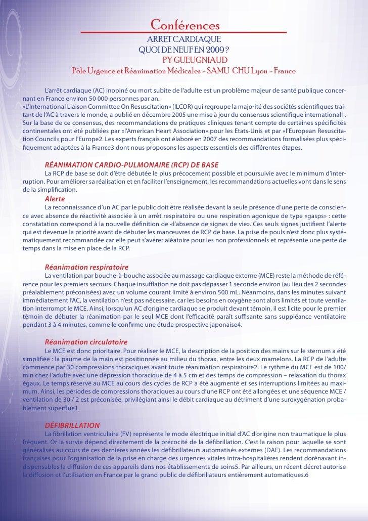 Conférences                                        ARRET CARDIAQUE                                     QUOI DE NEUF EN 200...