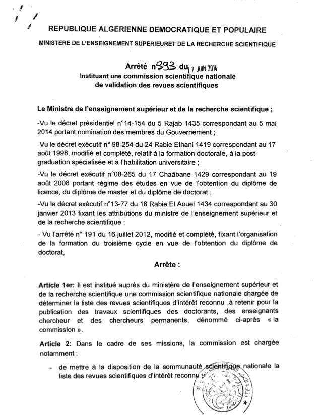· ! 11 REPUBLIQUE ALGERIENNE DEMOCRATIQUE ET POPULAIRE   MINISTERE DE L'ENSEIGNEMENT SUPERIEURET DE LA RECHERCHE SCIENTIFI...