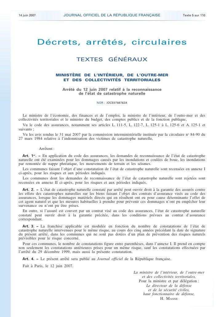 JOURNAL OFFICIEL DE LA RÉPUBLIQUE FRANÇAISE     14 juin 2007                                                              ...
