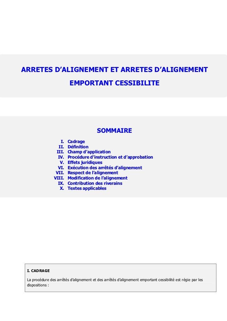 ARRETES D'ALIGNEMENT ET ARRETES D'ALIGNEMENT                          EMPORTANT CESSIBILITE                               ...
