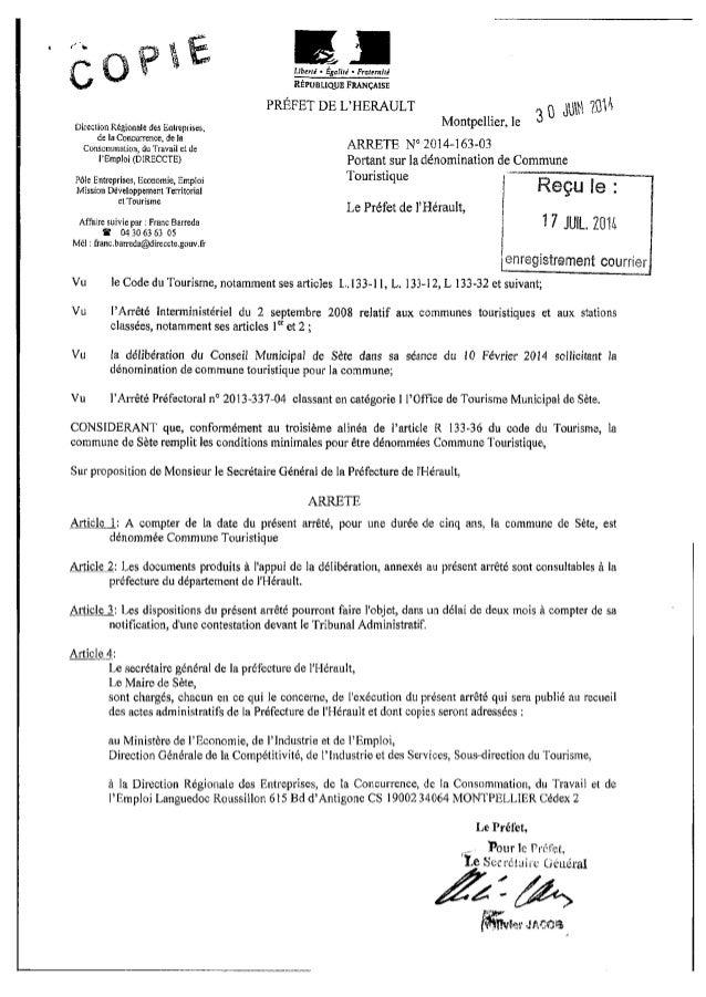 Arrete prefectoral 2014 163 03 30 juin2014 classement SETE commune touristique