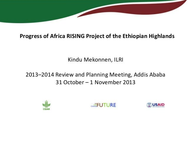 Progress of Africa RISING Project of the Ethiopian Highlands  Kindu Mekonnen, ILRI 2013–2014 Review and Planning Meeting, ...