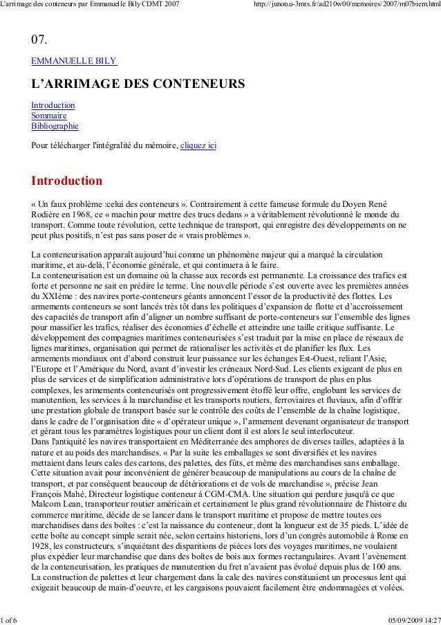 07. EMMANUELLE BILY L'ARRIMAGE DES CONTENEURS Introduction Sommaire Bibliographie Pour télécharger l'intégralité du mémoir...