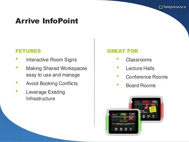 arrive systems infopoint meeting room signage