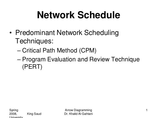 Network Schedule• Predominant Network Scheduling  Techniques:     – Critical Path Method (CPM)     – Program Evaluation an...