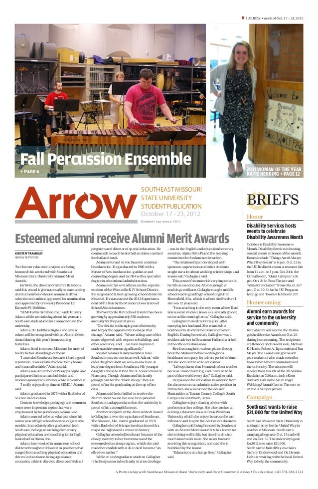 1 ARROW • week of Oct. 17 - 23, 2012   Fall Percussion Ensemble                                                         ...