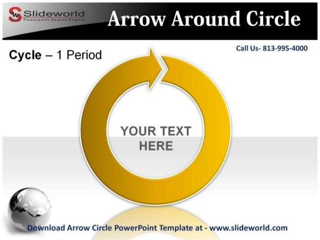 Call Us- 813-995-4000  voua r:2x'r  1';   '3' 'CA L/ v  Download Arrow Circle PowerPoint Template at - www. slideworld. com