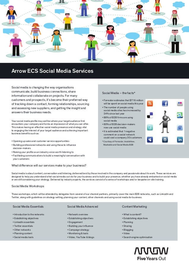 Arrow ECS Social Media ServicesSocial media is changing the way organisations­communicate, build business connections, sha...