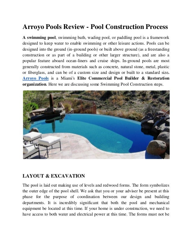 Arroyo Pools Review - Swimming Pool - Construction - Process