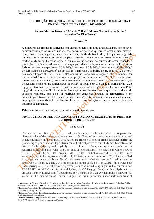 Revista Brasileira de Produtos Agroindustriais, Campina Grande, v.15, n.4, p.383-390, 2013 383  ISSN 1517-8595  PRODUÇÃO D...