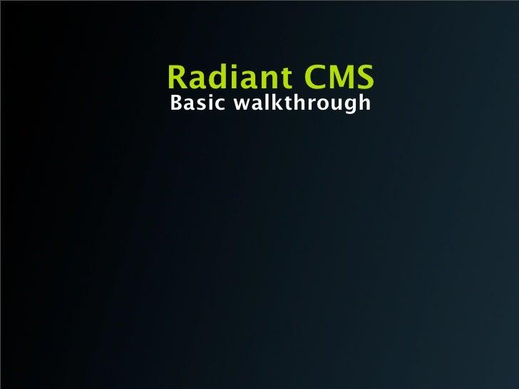 Radiant CMS Basic walkthrough