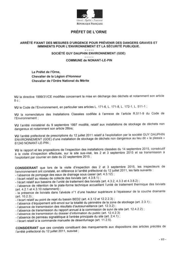 Préfet de l'Orne : Arrêté 25 sept 2015 mesures d'urgence GDE