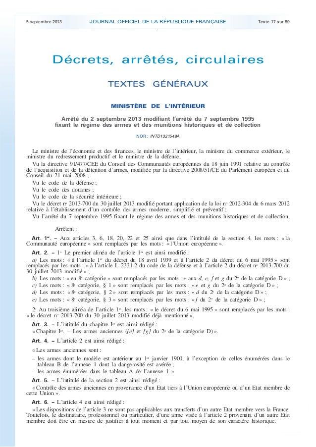 .  JOURNAL OFFICIEL DE LA RÉPUBLIQUE FRANÇAISE  5 septembre 2013  Texte 17 sur 89  Décrets, arrêtés, circulaires TEXTES GÉ...