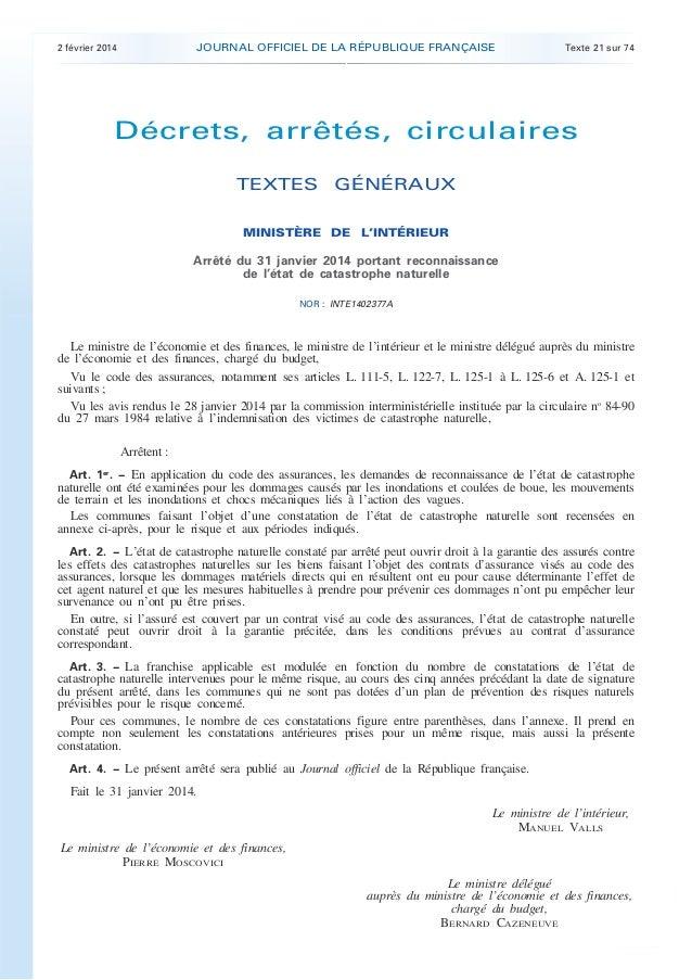 .  JOURNAL OFFICIEL DE LA RÉPUBLIQUE FRANÇAISE  2 février 2014  Texte 21 sur 74  Décrets, arrêtés, circulaires TEXTES GÉNÉ...