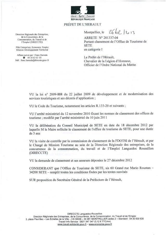 Arrêté de classement Office de Tourisme de Sète cat 1 le 26fev2013
