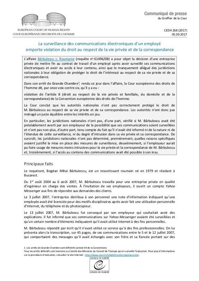 droit au respect de la vie privee dissertation Lisez ce société note de recherches et plus de 43 000 autres dissertation le respect au droit de la vie privée et ses limites la convention européenne des droits de l'homme du 04.
