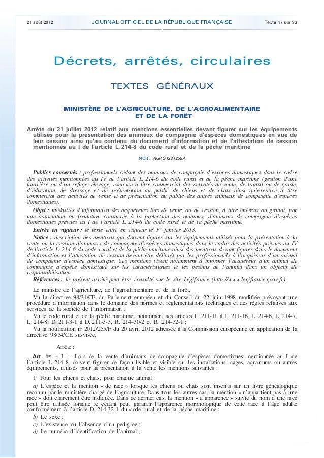 .  JOURNAL OFFICIEL DE LA RÉPUBLIQUE FRANÇAISE  21 août 2012  Texte 17 sur 93  Décrets, arrêtés, circulaires TEXTES GÉNÉRA...