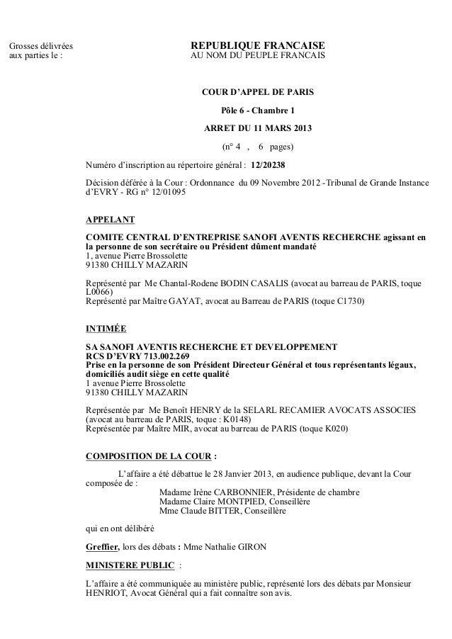 ... Cour Du0027appel De Paris. Grosses Délivrées REPUBLIQUE FRANCAISEaux ...